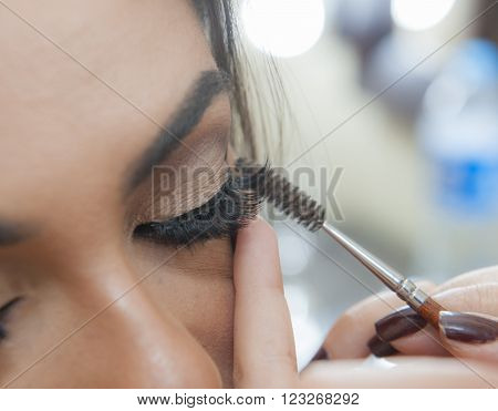 Closeup Of Woman Applying Mascara