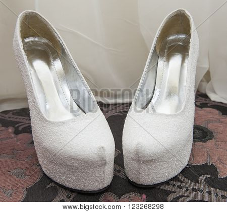 Closeup Detail Of Bridal Shoes
