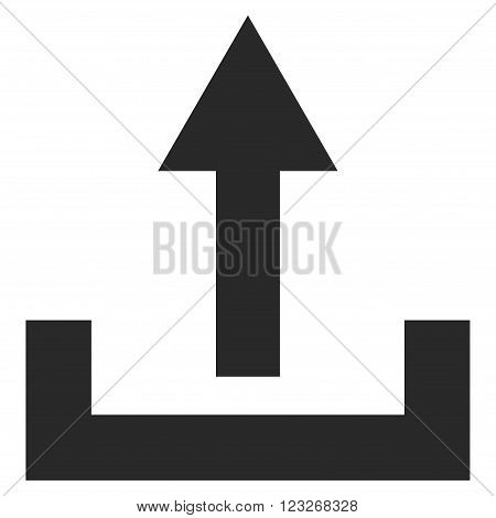 Upload vector icon. Upload icon symbol. Upload icon image. Upload icon picture. Upload pictogram. Flat gray upload icon. Isolated upload icon graphic. Upload icon illustration.