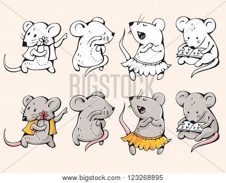 Illustration of funny cartoon mice. Hand-drawn illustration. Vector.