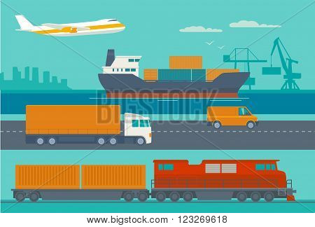 Maritime rail and air transport delivery services. Ship truck car train airplane. Wide flat vector illustration for logistics business.