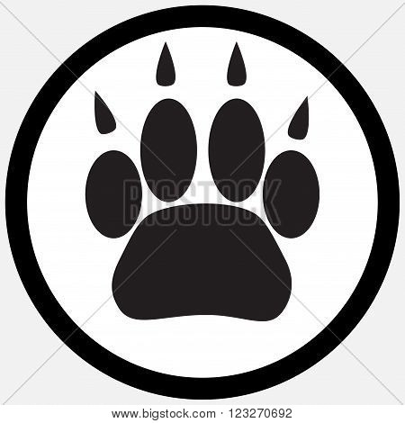 Monochrome icon foot print animal. Silhouette cat paw animal pet print foot track trace footprint puppy. Vector abstract flat design illustration