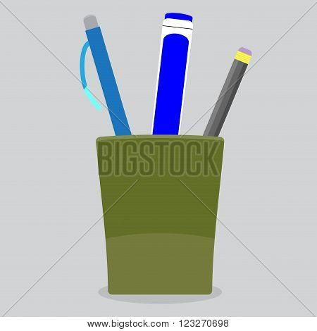 Cup stationery pen pencil. Office drawing tool container for stationery instrument. Vector abstract flat design illustration