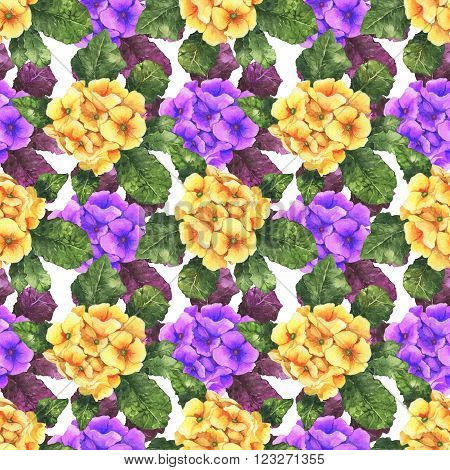 Watercolor colorful spring and summer flowers seamless pattern set with yellow and violet primula