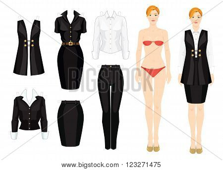 Paper doll with clothes. Template of woman body. Set of template paper clothes. Formal clothes for office. Vector illustration of blonde girl in black skirt, vest and white color blouse.