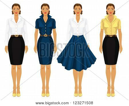 Various style clothes. Clothes for office, clothes for holiday. Pretty girl with dark skin in formal clothes and clothes for holiday