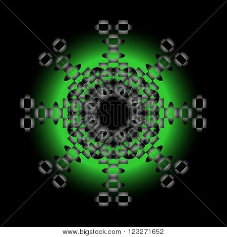 Abstract composition with gray bals and green sphere.