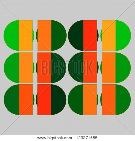 Abstract composition with colored figures on a gray background.
