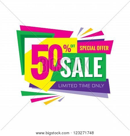 Sale abstract vector banner - special offer 50% off. Sale vector banner. Super big sale design layout. Sale banner template. Abstract colored advertising composition.