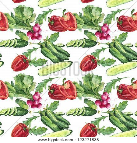 Watercolor colorful fresh seamless background food set with cucumber sweet papper and radish