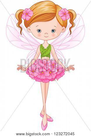 Illustration of flying beautiful flower fairy