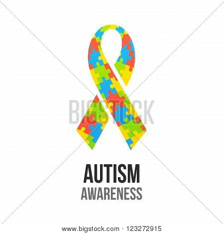 Autism awareness ribbon with jigsaw puzzle pattern. Colorful vector illustration.