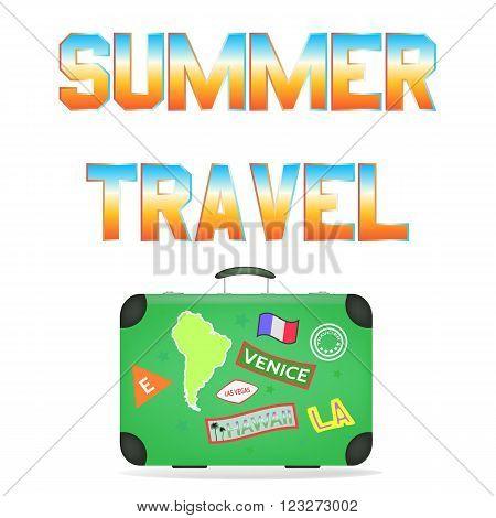 Summer Travel. Travel bag. Vector illustration concept.
