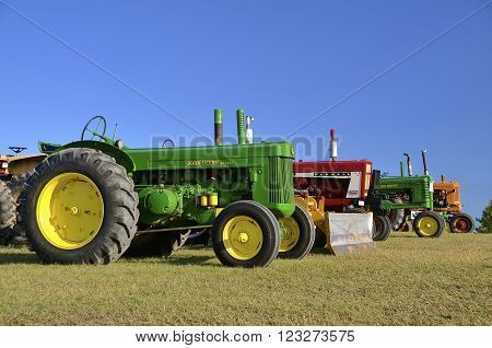 ROLLAG, MN, Sept 10, 2015: Old tractors lineup at the West Central Steam Threshers Reunion(WCSTR) where 1000s attend each Labor Day weekend in Rollag, MN each year.