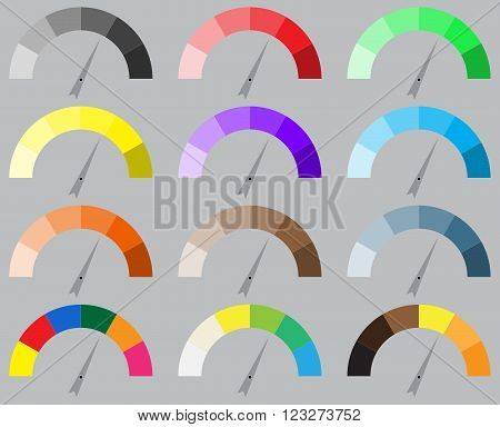 Indicator bright color set with pointer needle. Arrow indicator set power panel needle arrow barometer or tachometer equipment or instrument. Vector abstract flat design illustration