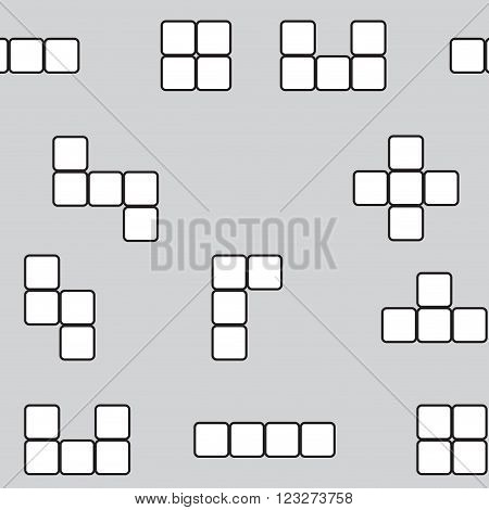 Seamless pattern linear block game. Game pattern leisure seamless block. Vector abstract flat design illustration