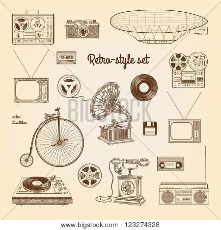 Retro style set. Vector illustration isolated on the old paper background.