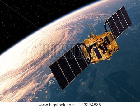 Communication Satellite Orbiting Earth. Realistic 3D Scene.