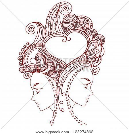 twins in doodle style on white background. Can be used as card, invitation, background element. Hand drawn style. Adult coloring book.
