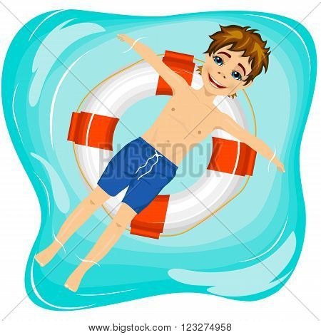 top view of young happy boy floating on an inflatable circle in the pool