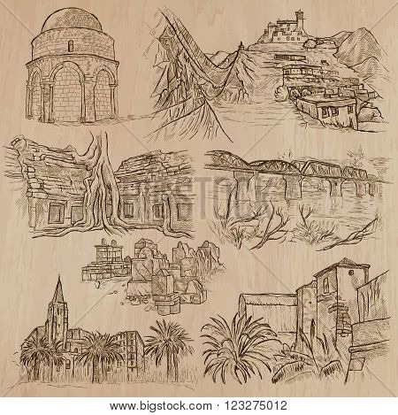 ARCHITECTURE and Famous Places around the World. Description - Hand drawn vectors freehand sketching. Editable in layers and groups. Background is isolated. All thingss are named inside the file.
