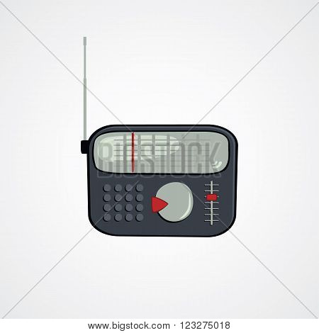 cartoon theme old radio vector art illustration