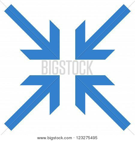 Collide Arrows vector icon. Style is flat icon symbol, cobalt color, white background.