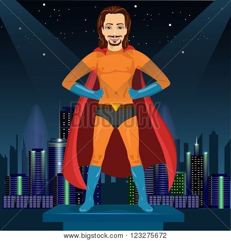handsome young man in superhero costume standing legs apart and watching over night city