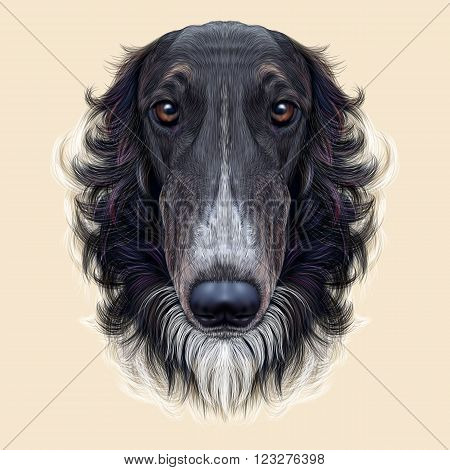 Cute face of black greyhound domestic dog ob yellow background.