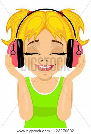 little cute blonde girl enjoys listening to music with headphones on white background