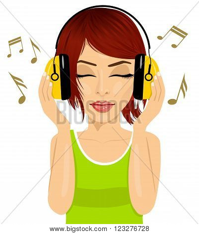 closeup portrait of young beautiful red haired woman enjoying the music with headphones