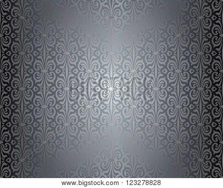 Silver shiny vintage pattern decorative background design