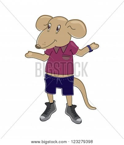 funny vector image. rat wearing a T-shirt, shorts and sneakers