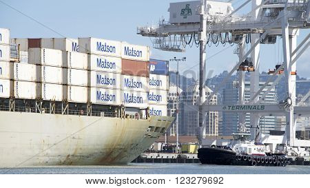 Matson Cargo Ship Manoa Departing The Port Of Oakland