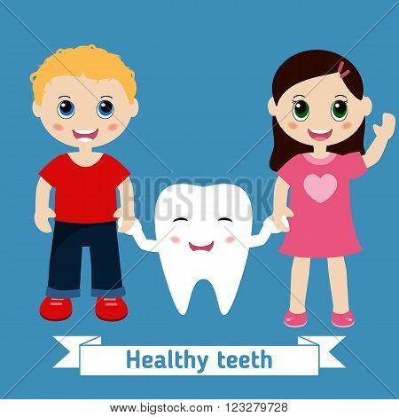 Dental care design. ?hildren holding hands cartoon tooth. Blue background.
