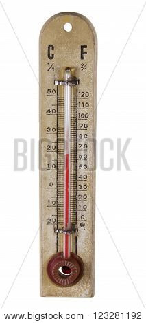 Old Fashioned Thermometer on Isolated White Background