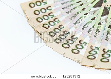 Five hundred banknotes on the white isolated