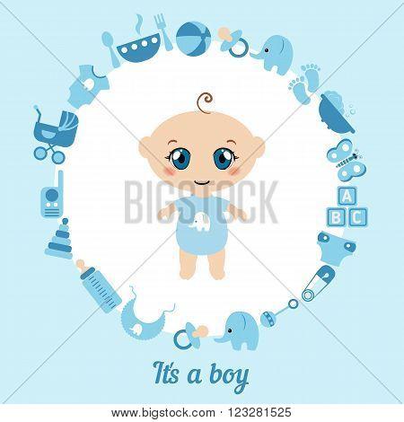 Baby boy shower card. It's a boy card. Blue background.