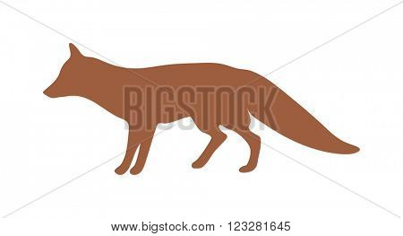 Wild fox animal flat vector silhouette and wild animal symbol. Animal silhouette. Wild life animals silhouette. Vector silhouette wild animal zoo vector.