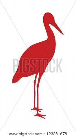 Wild stork bird animal flat vector silhouette and wild animal symbol. Animal silhouette. Wild life animals silhouette. Vector silhouette wild animal zoo vector.