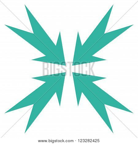 Compression Arrows vector icon. Style is flat icon symbol, cyan color, white background.