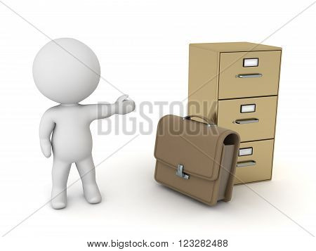 3D character is showing a briefcase and an archiving cabinet. Isolated on white background.