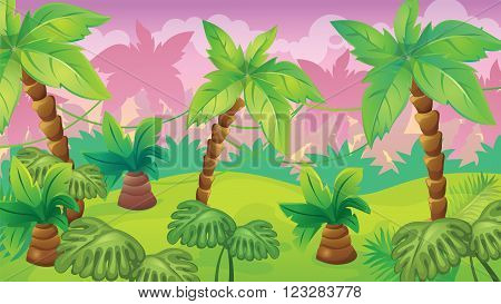 Vector seamless cartoon game background of jungle landscape with vines and palm trees