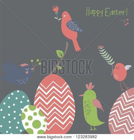 Easter background with spring birds and eggs