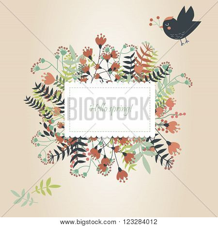Banner  with hand drawn flowers and cute bird flying