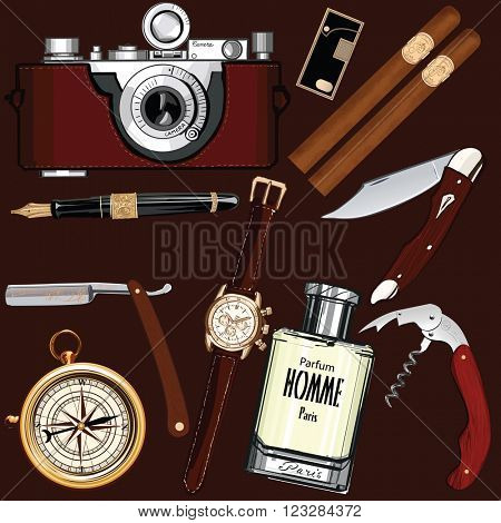 Set of vintage men's accessories - Vector illustration