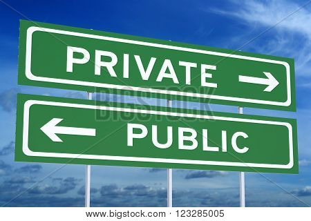 Private or Public concept on the road signpost 3D rendering
