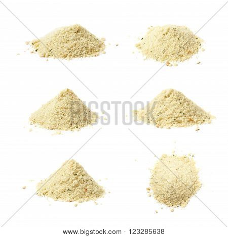 Pile of instant potato powder isolated over the white background, set of six different foreshortenings
