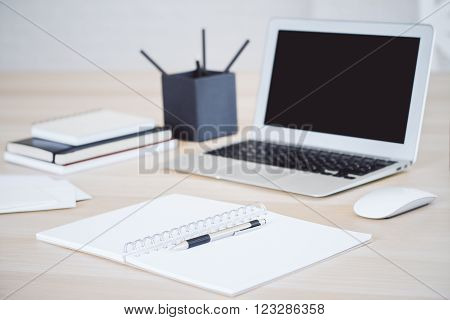 Table With Notebook And Notepad