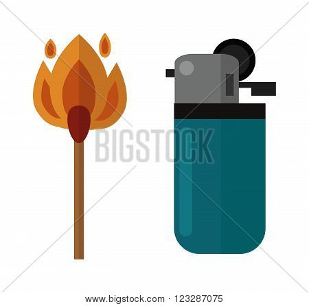 Blue little lighter and burning matches. Matches and hot lighters. Matches ignite and bright flammable lighters. Plastic lighter blaze object vector. Vector burning matches sticks and lighters.